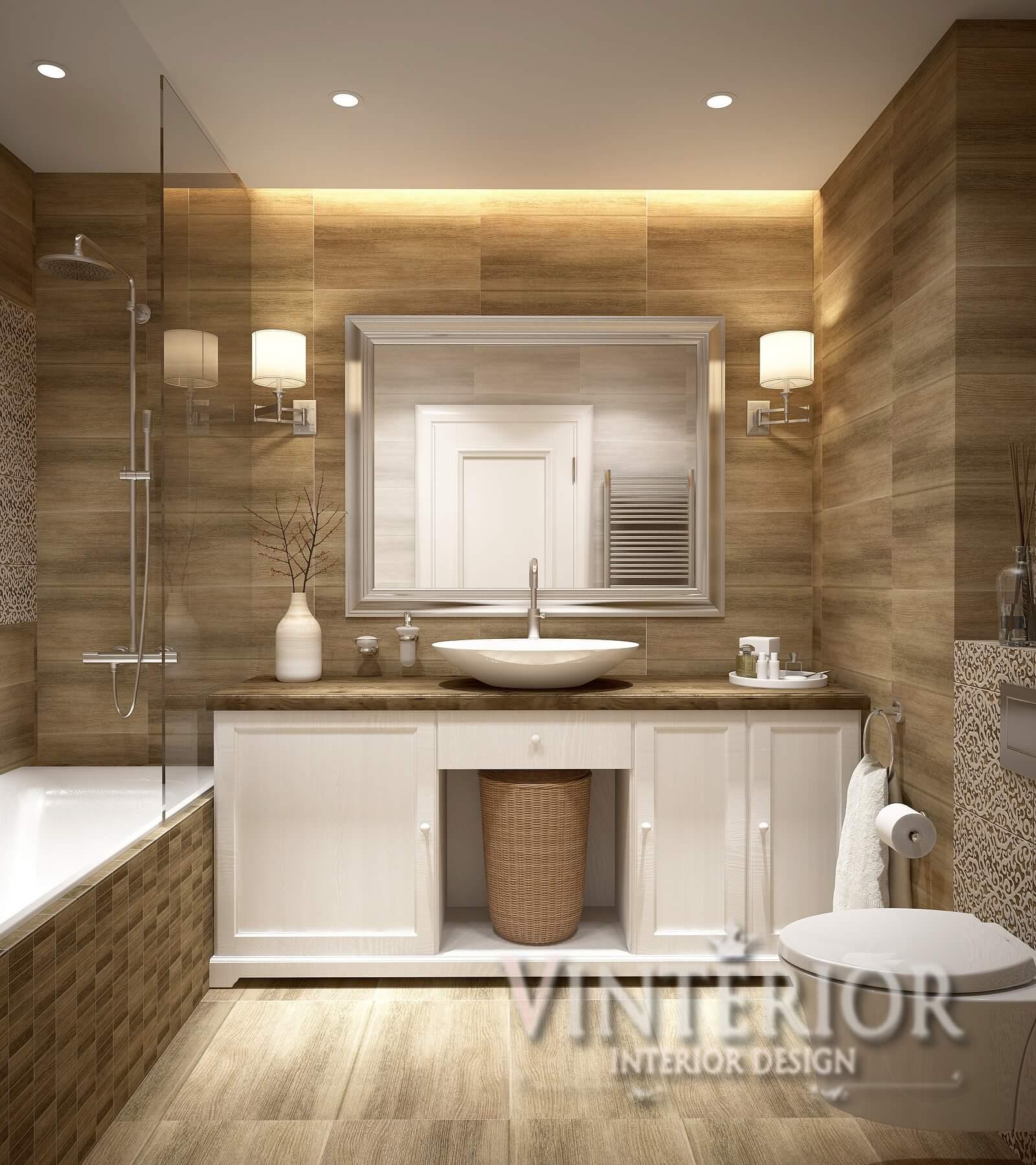 Квартира 1-комнатная, Ванная (современный стиль и классика), г. Киев